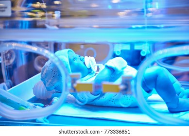 Mock-up of a child in an intensive care incubator