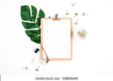 Mockup with clipboard, palm leaf and clips. Flat lay, top view