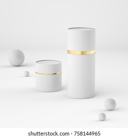 Mockup of closed paper can tubes. White with gold. 3d rendering