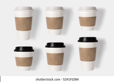 Mockup coffee cup set isolated on white background. Copy space for text and logo. Clipping Path included on white background.