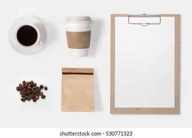 Mockup coffee set isolated on white background. Copy space for text and logo. Clipping Path included.