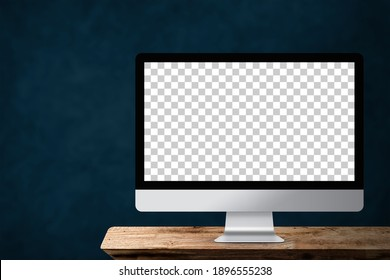 mockup computer with blank transparent screen on desk wood table.clipping path