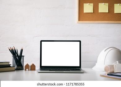 Mockup computer laptop of engineer workspace.