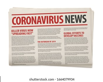 Mockup of Coronavirus Newspaper, News related of the COVID-19 with the the headline in paper media press production concept isolated white background