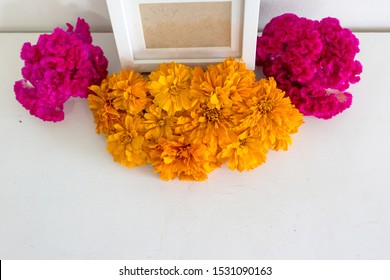 Mockup Day of the Dead Altar. With celosia and cempasuchil flowers