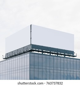 Mockup of double billboard on the roof. Bussines commercial. 3d rendering