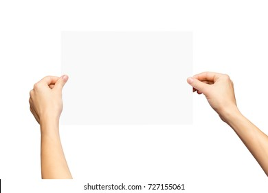 Mockup of female hands holding blank paper list isolated at white background.
