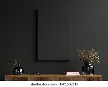 Mockup frame on cabinet in living room interior on empty dark wall background,3D rendering - Shutterstock ID 1901532613