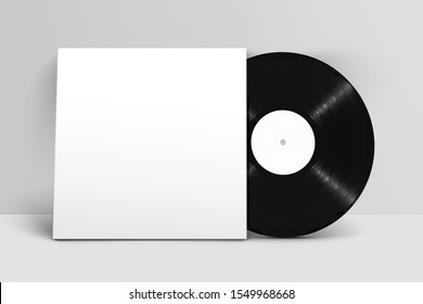 Mockup of front view standing blank vinyl record with cover against white wall