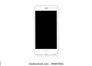 Mockup of a generic modern white and silver digital smartphone isolated on a white background