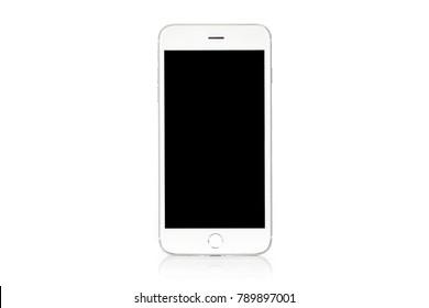 Zusammenstellung eines generischen, modernen, weißen und silbernen digitalen Smartphones einzeln auf weißem Hintergrund