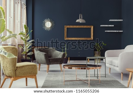 Mockup Of Gold Frame In Navy Blue Living Room Interior With Armchairs And Settee Real