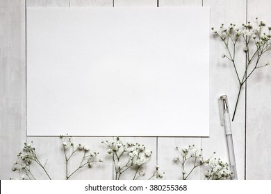 Mockup with gypsophila flowers. Blank space for text.