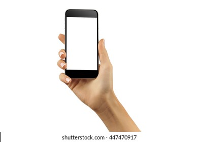Mockup of hand with a black cellphone with white screen at isolated background.