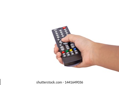 Mockup hand holding and using black multimedia television remote control isolated on white background. Clipping path.