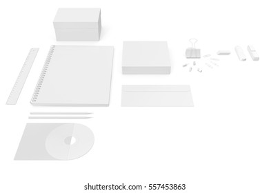 Mockup illustration business brand template on white background. 3d rendering
