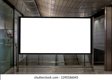 Mockup image of Blank billboard white screen posters and led in the subway station for advertising