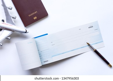 Mockup image of mobile smartphone , airplane and check book isolated on white background. Business technology trip and travel,paycheck concept.