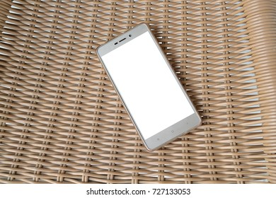 Mockup image of telephone on a  table