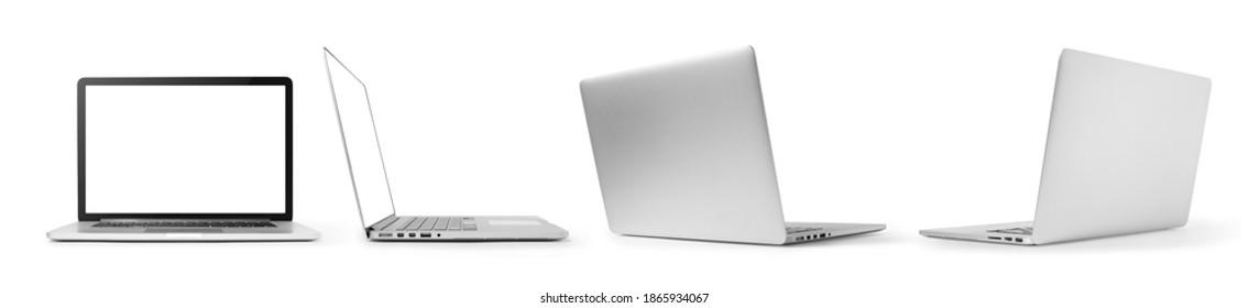 mock-up of laptops. Side, front, back, collection mockups generic. template laptop  for presentation and decoration ads.