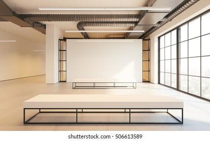 Mockup of light empty exhibition gallery with bench. Concrete floor. Loft design 3d render