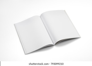 Mock-up magazine, book or catalog on white table. Blank page or notepad on solid background. Blank page or notepad for mockups or simulations.