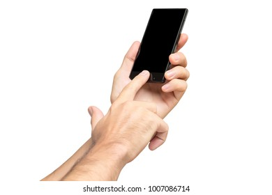 Mockup of male hand holding black cellphone and swiping black screen isolated at white background.