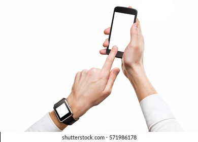 Mockup of male hands with cellphone and smart watch with blank screens isolated.
