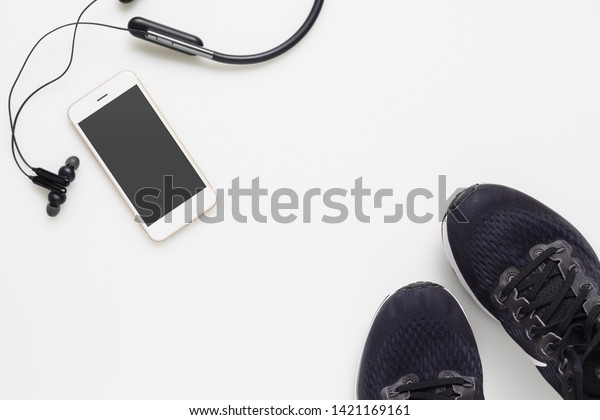 Mockup Mobile Cellphone Wireless Bluetooth Earphone Stock Photo Edit Now 1421169161