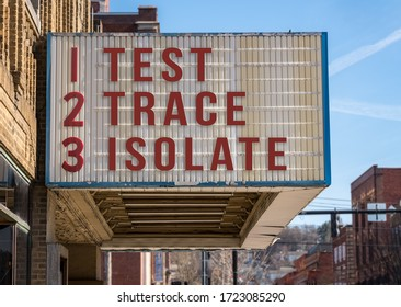Mockup of movie cinema billboard with Test, Trace, Isolate message to control the coronavirus epidemic once economy opens up