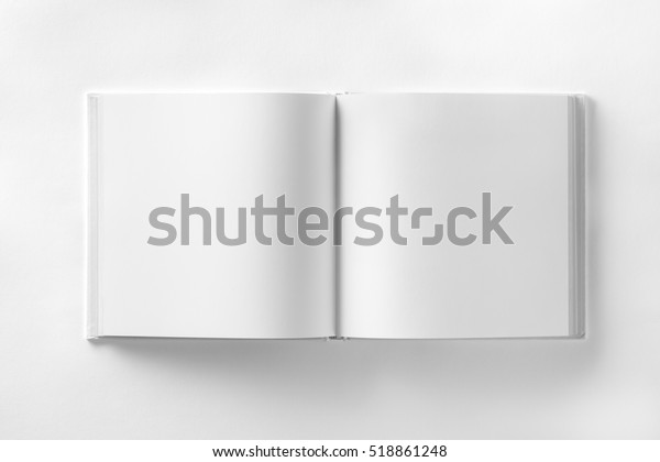 Mockup of opened blank square ctalogue at white design paper background.