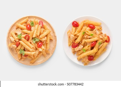 Mockup Penne pasta isolated on white background. Clipping Path included on white background.