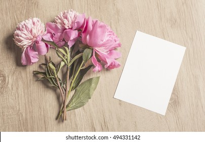 Mockup With Pink Peonies And Vertical Card