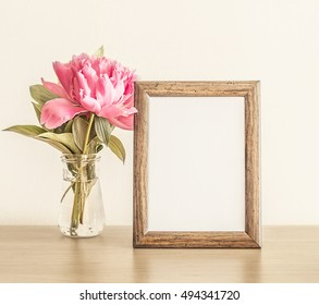 Mockup With Pink Peony And A Wooden Frame