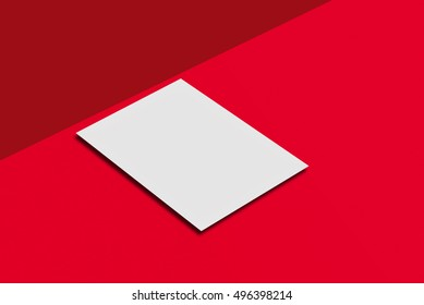 Mock-up postcard and cover. White paper card on red background. For your design and template.