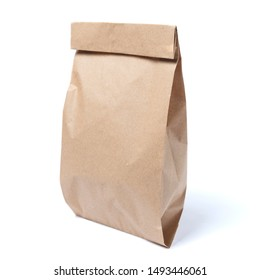 Mock-up of Recycled blank kraft paper shopping bag for lunch or food or purchases on white isolated background