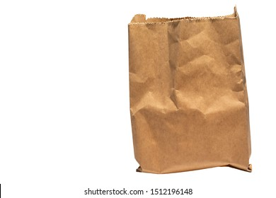 Mock-up of Recycled blank kraft paper shopping bag for lunch or food or purchases on white isolated background, clipping path