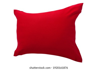 Mockup red pillow isolated on white background perspective
