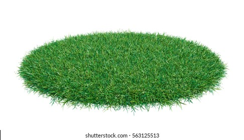 Mock-up round piece of green grass. Empty space for your product or text. Template for design. 3d illustration