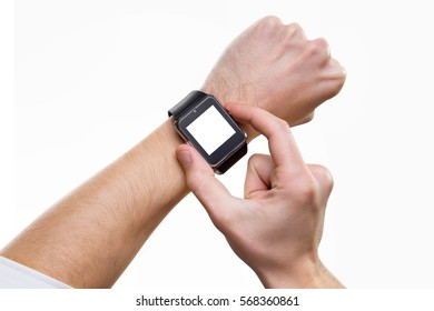 Mockup of smart watch on male hand with blank screen isolated.