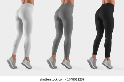 Mockup of sportswear on a fit girl standing on toes in sneakers, side and back, for design presentation. Template of white, gray, black leggings on a slim model, isolated on background. Set of pants
