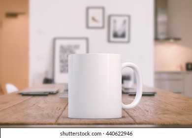 Mockup Styled Stock Product Image, white mug that you can add your design to. Focus on the mug, rest of the image is soft.