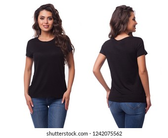 Mockup of a template of a black woman's t-shirt on a white background. Front view, rear view. The beautiful girl the brunette in a black t-shirt