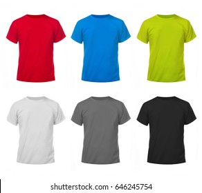 Mockup of a template of a color men's t-shirts on a white background