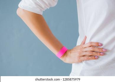 Mockup template of pink arm bracelet wristband