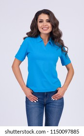 Mockup of a template of a woman's t-shirts on a white background