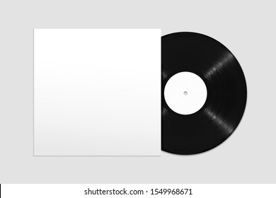 Mockup of top view blank vinyl record and cover on white background