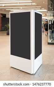 Mockup of two digital white screen panel. Blank modern media billboard in the shopping center. Place for text, advertising or public information.