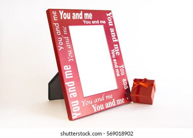 mock-up valentine's day frame for photo with gift