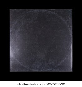 Mockup of vinyl music disc. Music lp retro vinyl disc template. Old Vinyl CD Record Cover Package Envelope. Black Scratched Shabby Paper Cardboard Square Texture.